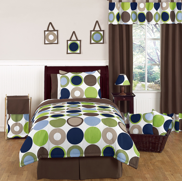 blue brown dot teen kids twin size bed bedding comforter set for boys bedroom ebay. Black Bedroom Furniture Sets. Home Design Ideas