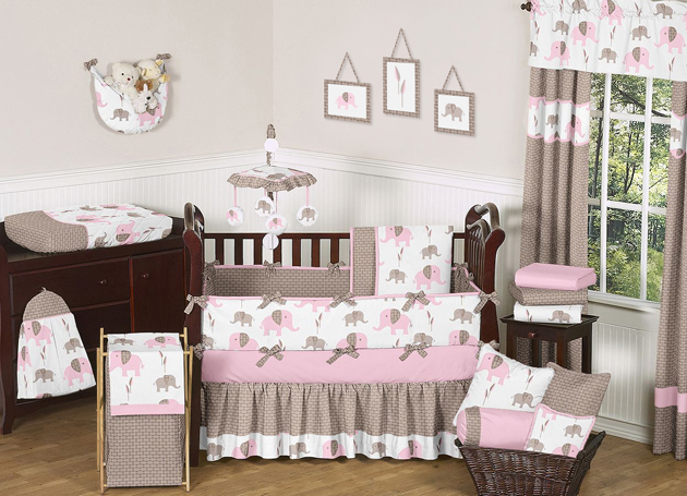 Unique discount pink and brown mod elephant designer baby Baby girl bedding
