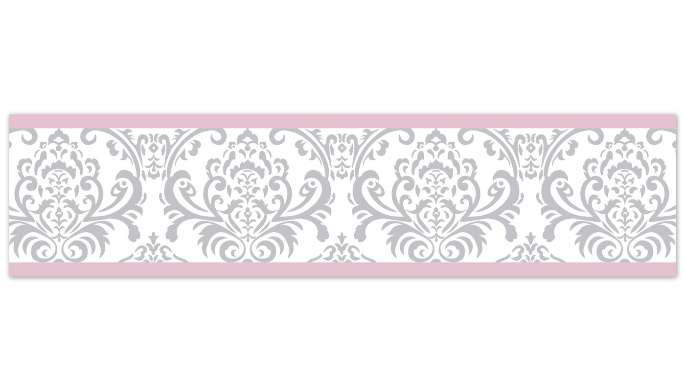 Sweet Jojo Designs Pink Gray Damask Baby Kid Wall Paper