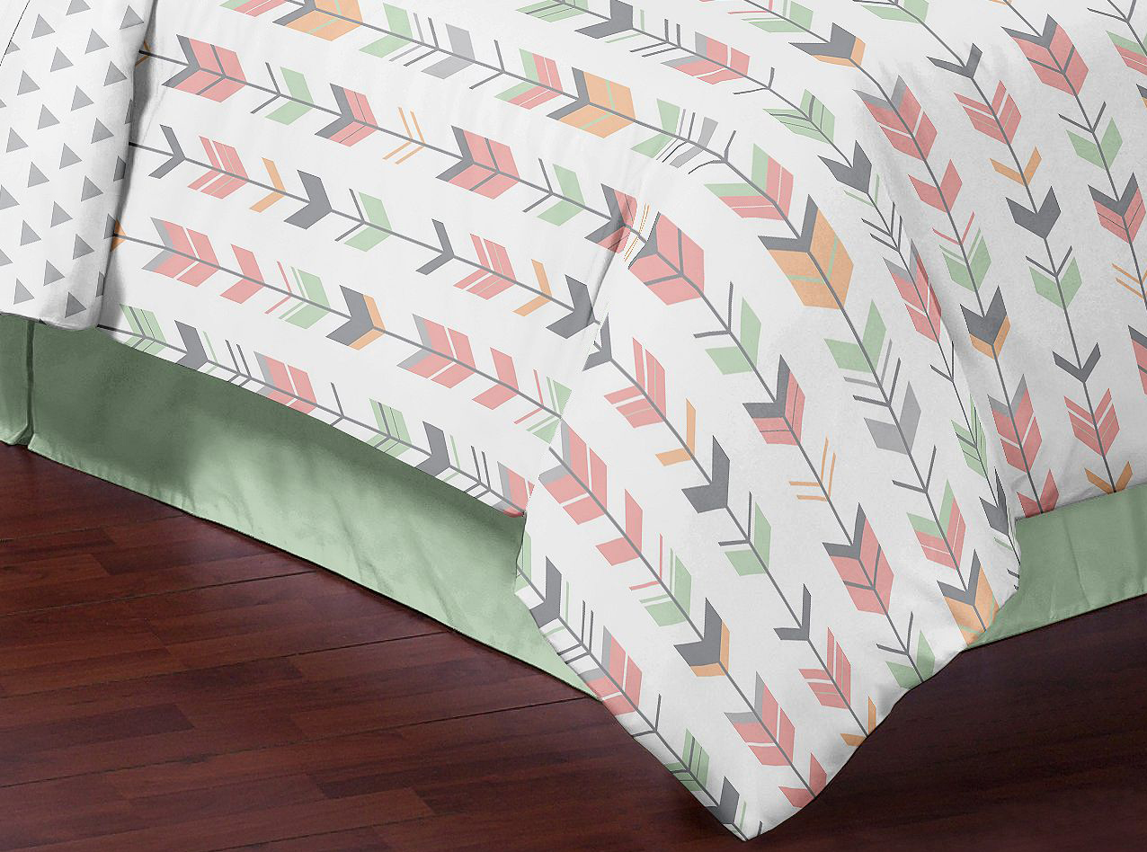 White and coral curtains - Sweet Jojo Coral White Mint Grey Arrow Girl Children Full Queen Teen