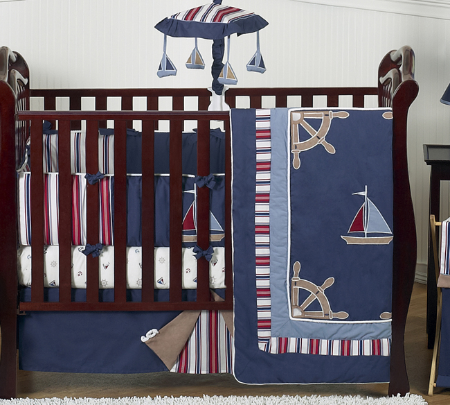 ... BLUE NAUTICAL SAIL BOAT THEMED 9p BABY BOY CRIB BEDDING COMFORTER SET
