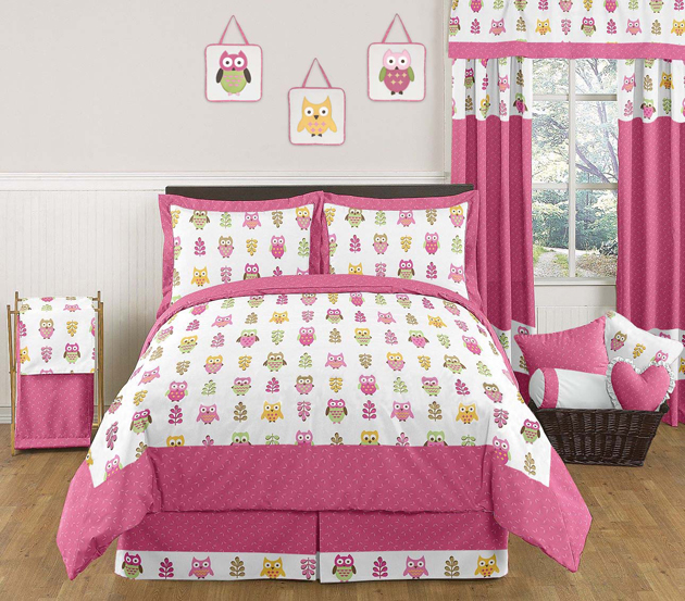 Modern Pink White Forest Nature Owl Theme Girl Kids Full Queen Size Bedding Set