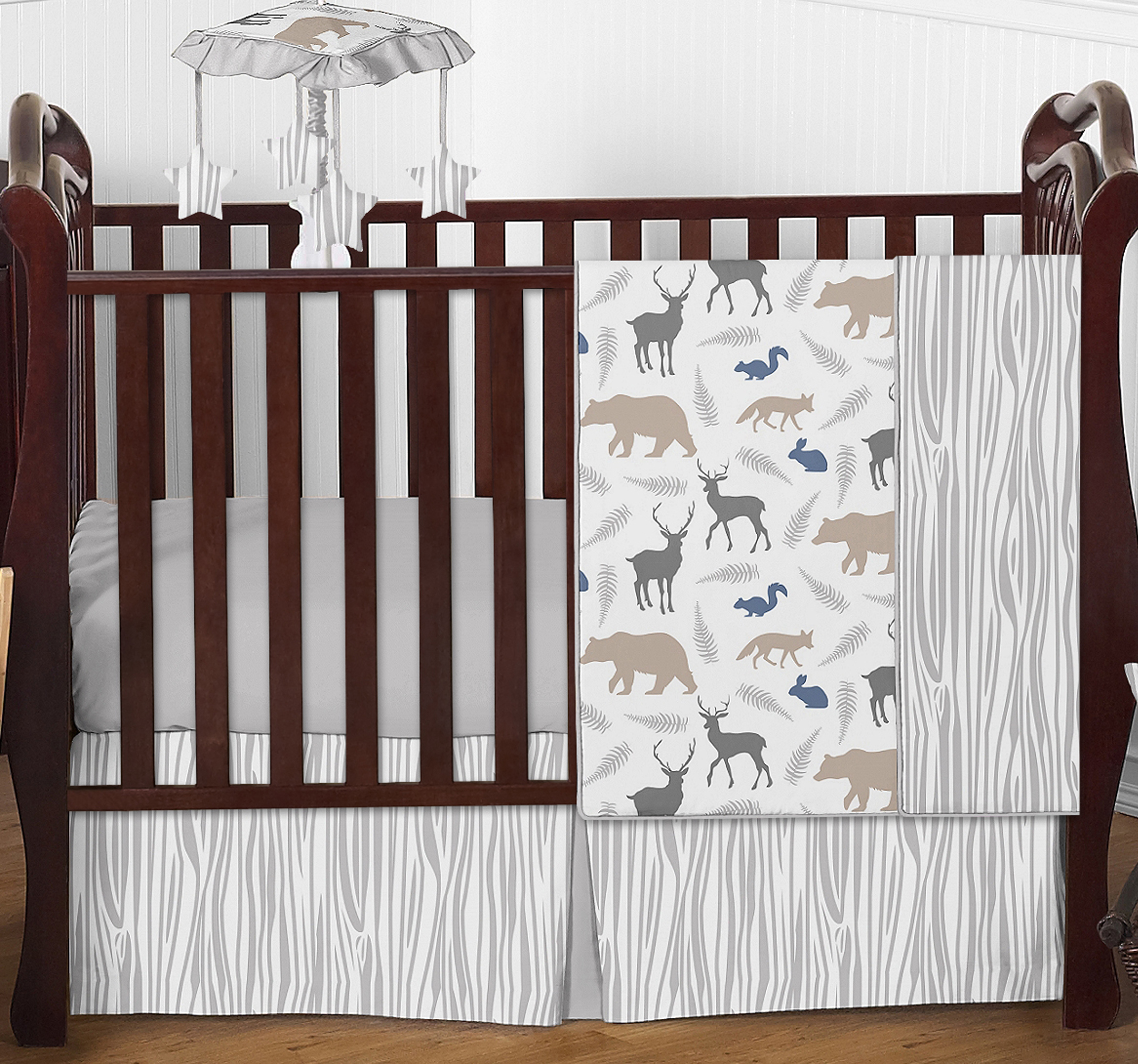 sweet jojo designs grey deer animal outdoor bumperless baby boy