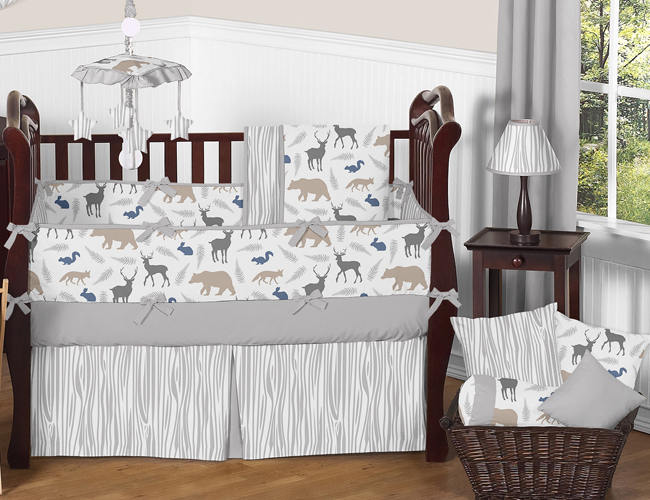 Animal safari deer fox bear neutral baby boy bedding crib set ebay