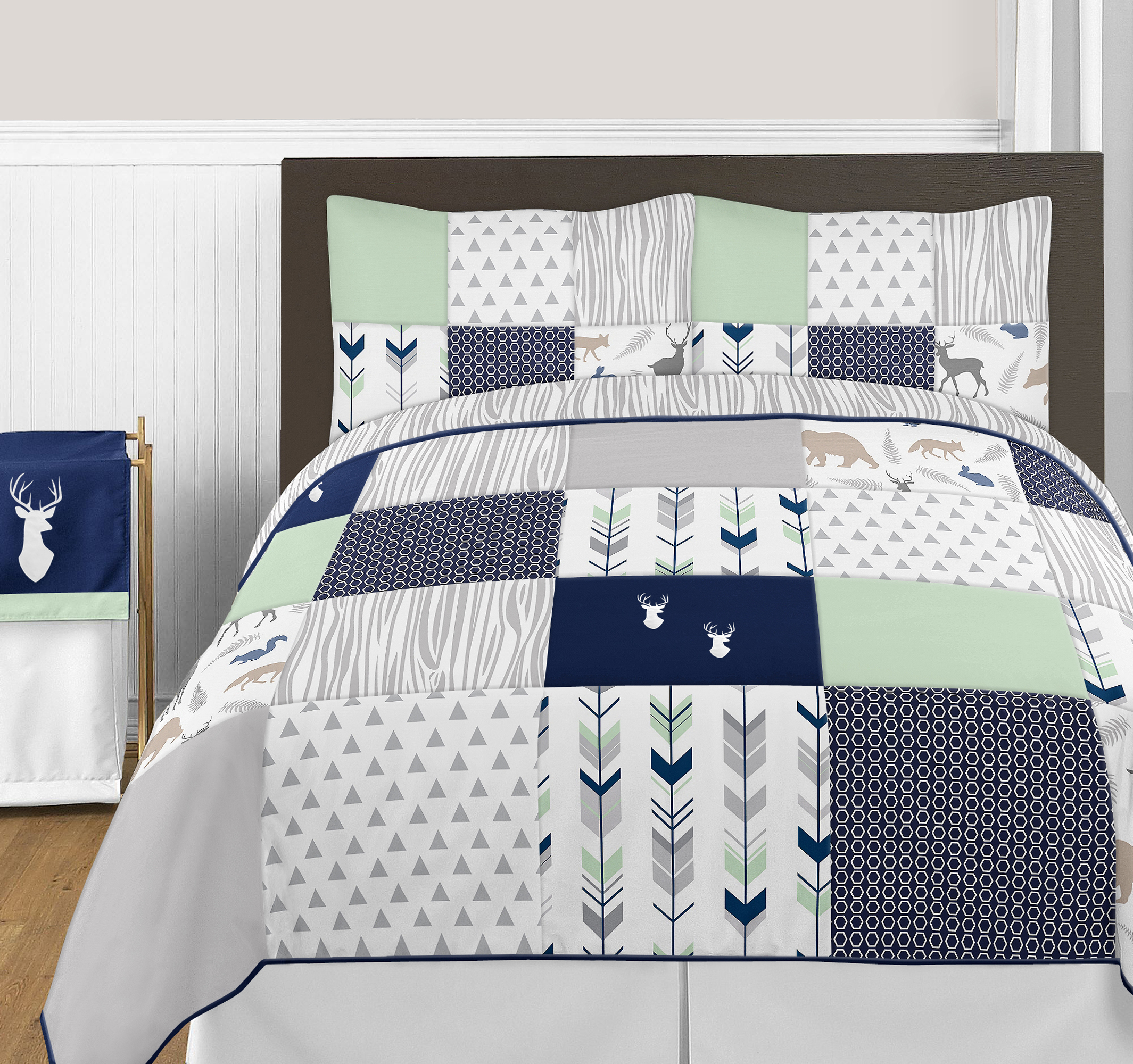 Luxury White Arrow Grey Deer Full Queen Quilt Comforter