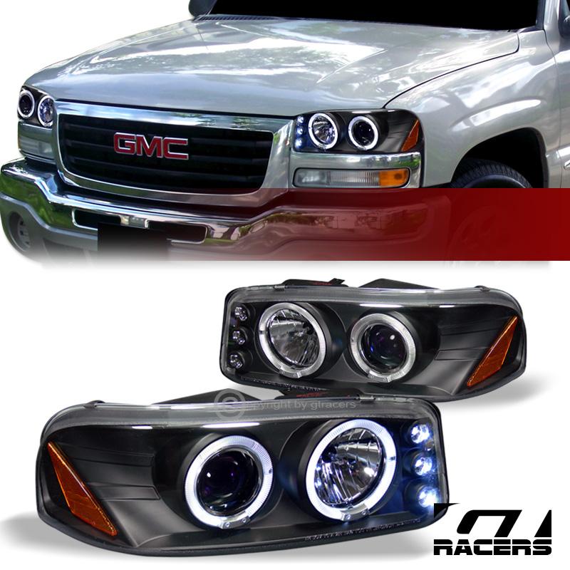Gmc 2500 Yukon Xl: BLACK LED HALO RIMS PROJECTOR HEAD LIGHTS 1999 2000-2006