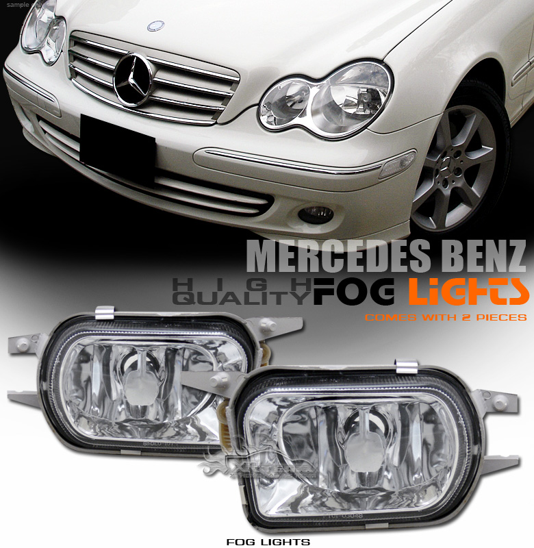 01 04 mercedes benz w203 c230 c240 c320 clear lens amg for Mercedes benz c300 fog light replacement