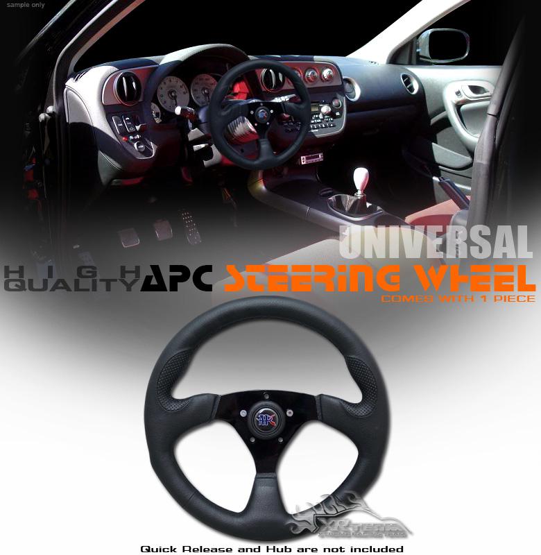 """Universal 14"""" Black Racing Steering Wheel Car Truck SUV"""