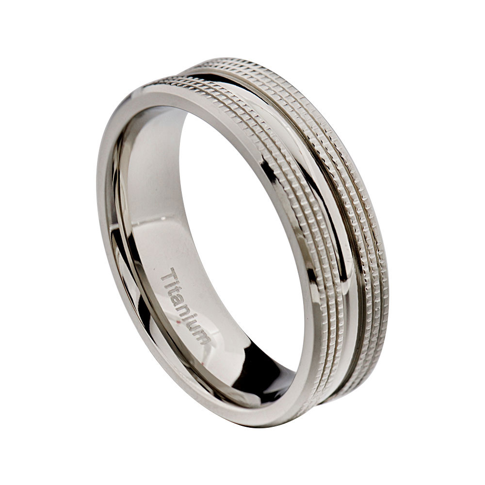 FlameReflection 7mm Men's Ring Jewelry Titanium Wedding Band High Polish Center at Sears.com