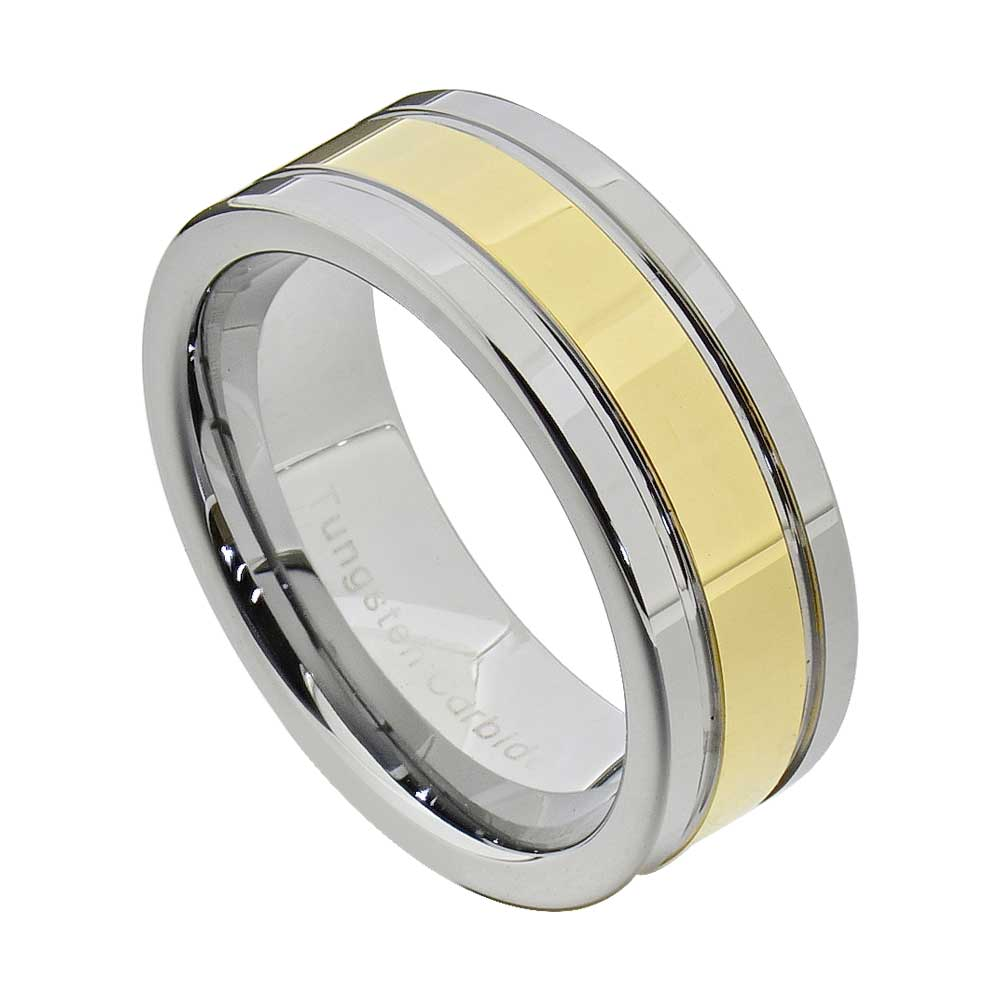 tungsten carbide ring comfort fit wedding band men silver On mens gold comfort fit wedding bands