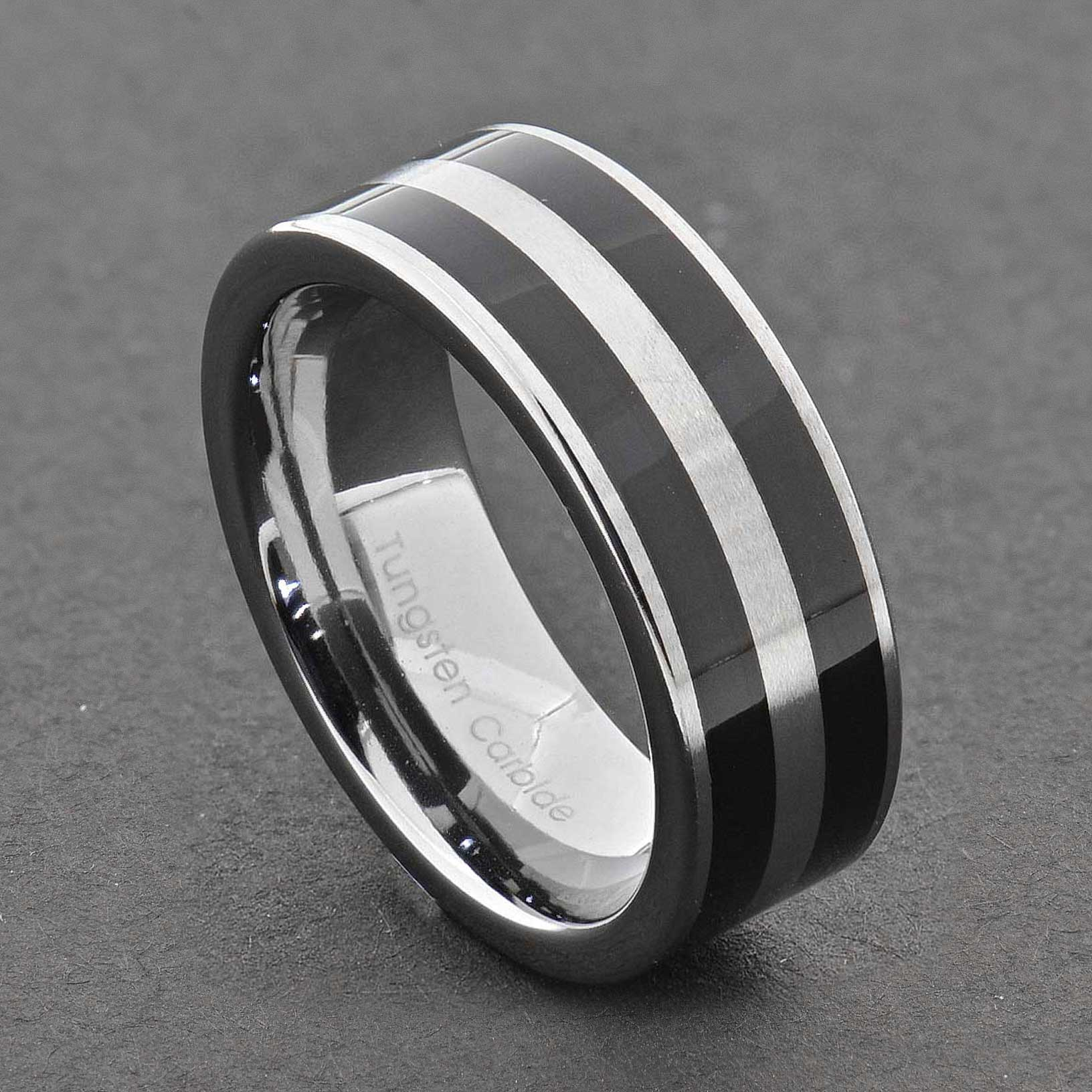 tungsten carbide ring comfort fit wedding band men silver. Black Bedroom Furniture Sets. Home Design Ideas