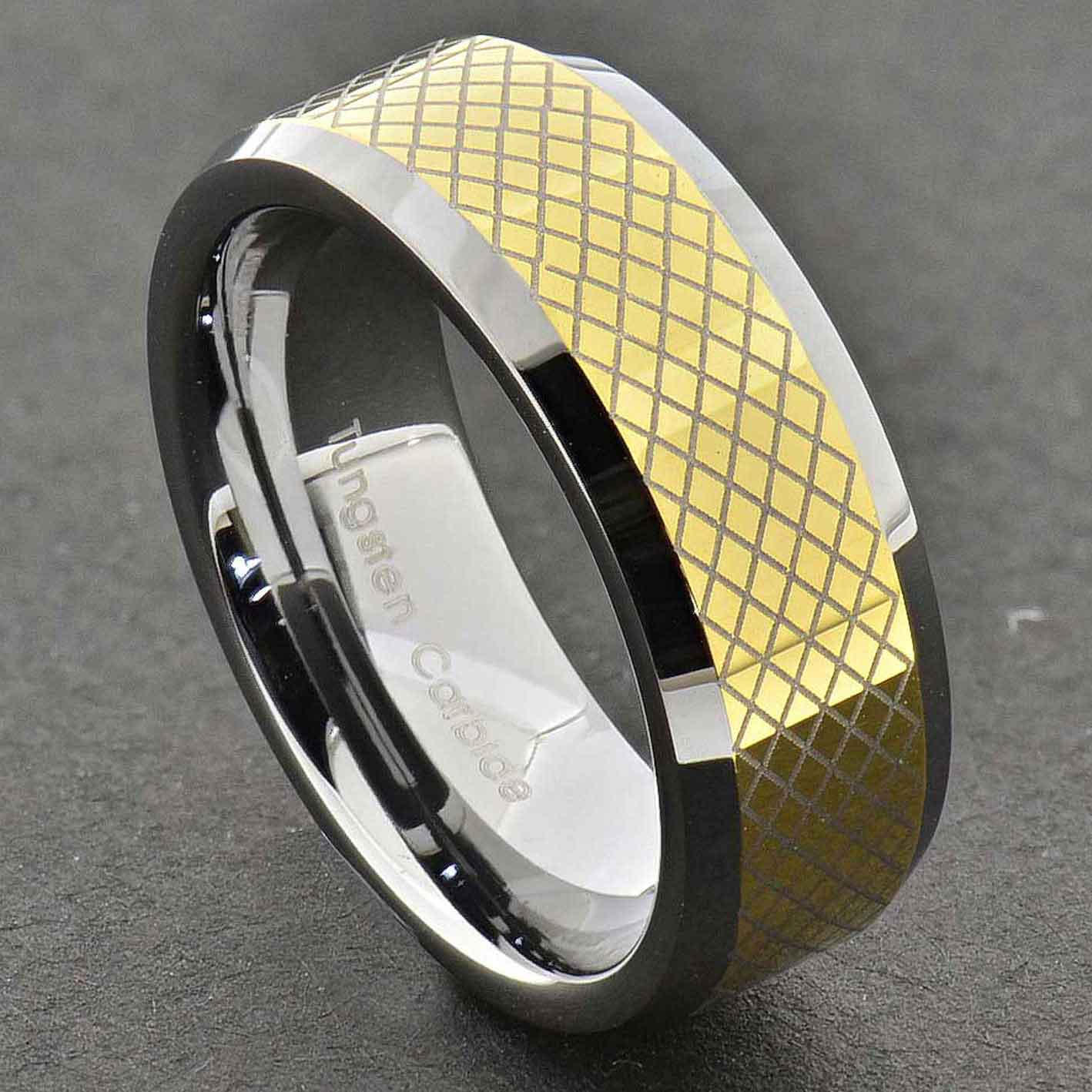 Black Tungsten Carbide Wedding Bands: Tungsten Carbide Ring Comfort Fit Wedding Band Men Silver