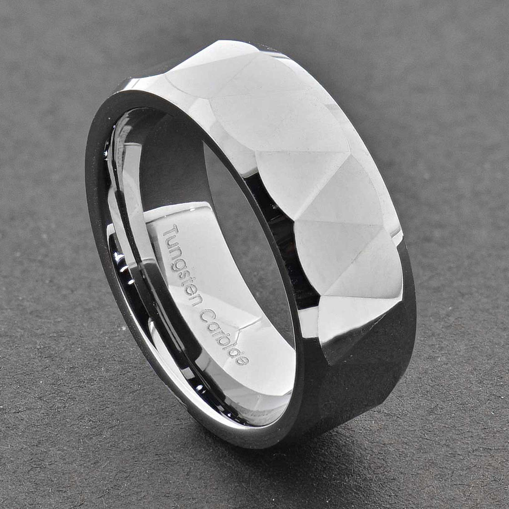8mm Triangle Faceted Shiny Bevel Edge Tungsten Band Mens Wedding Ring