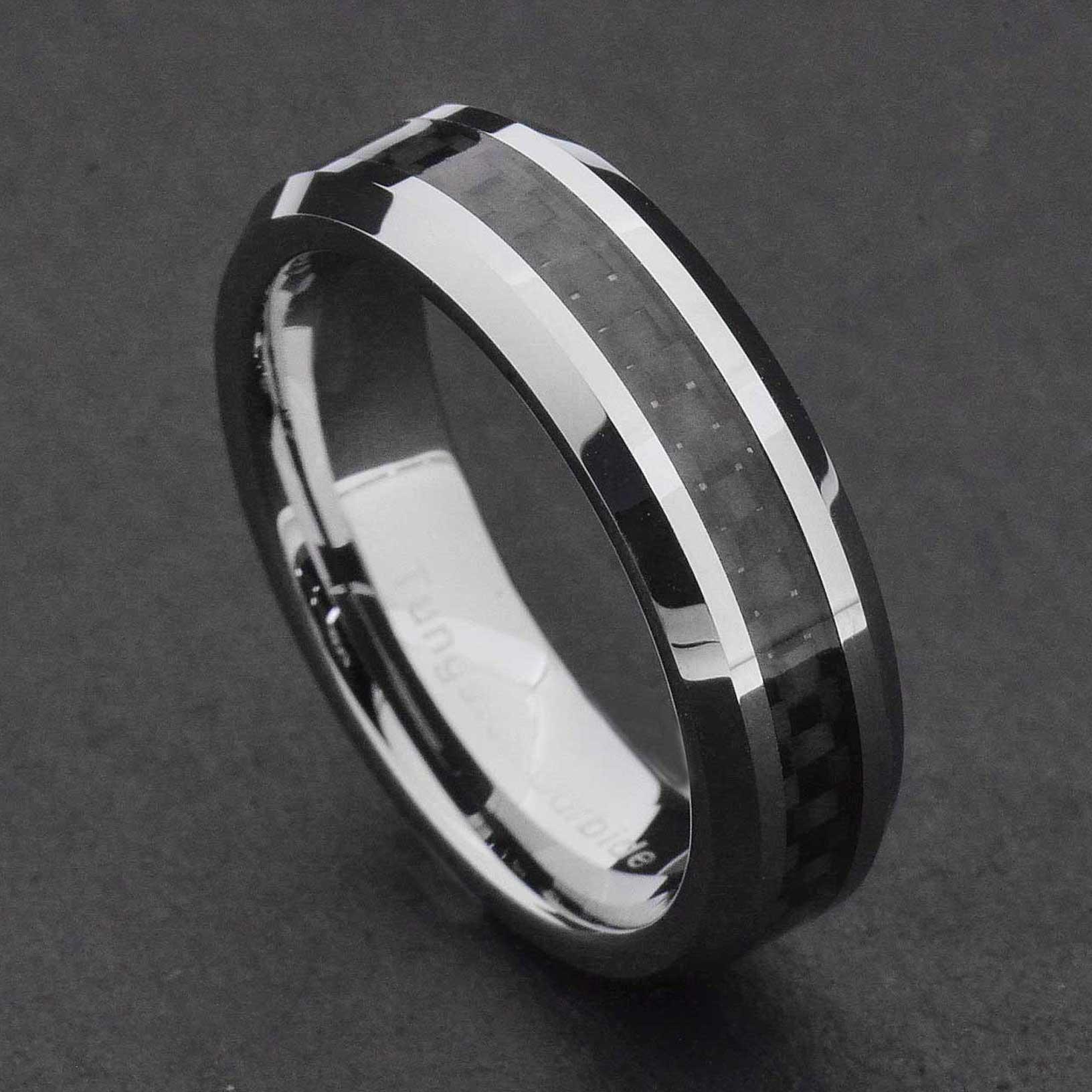 Blackened Bands: 6mm Tungsten Carbide Black Carbon Fiber Women's Wedding