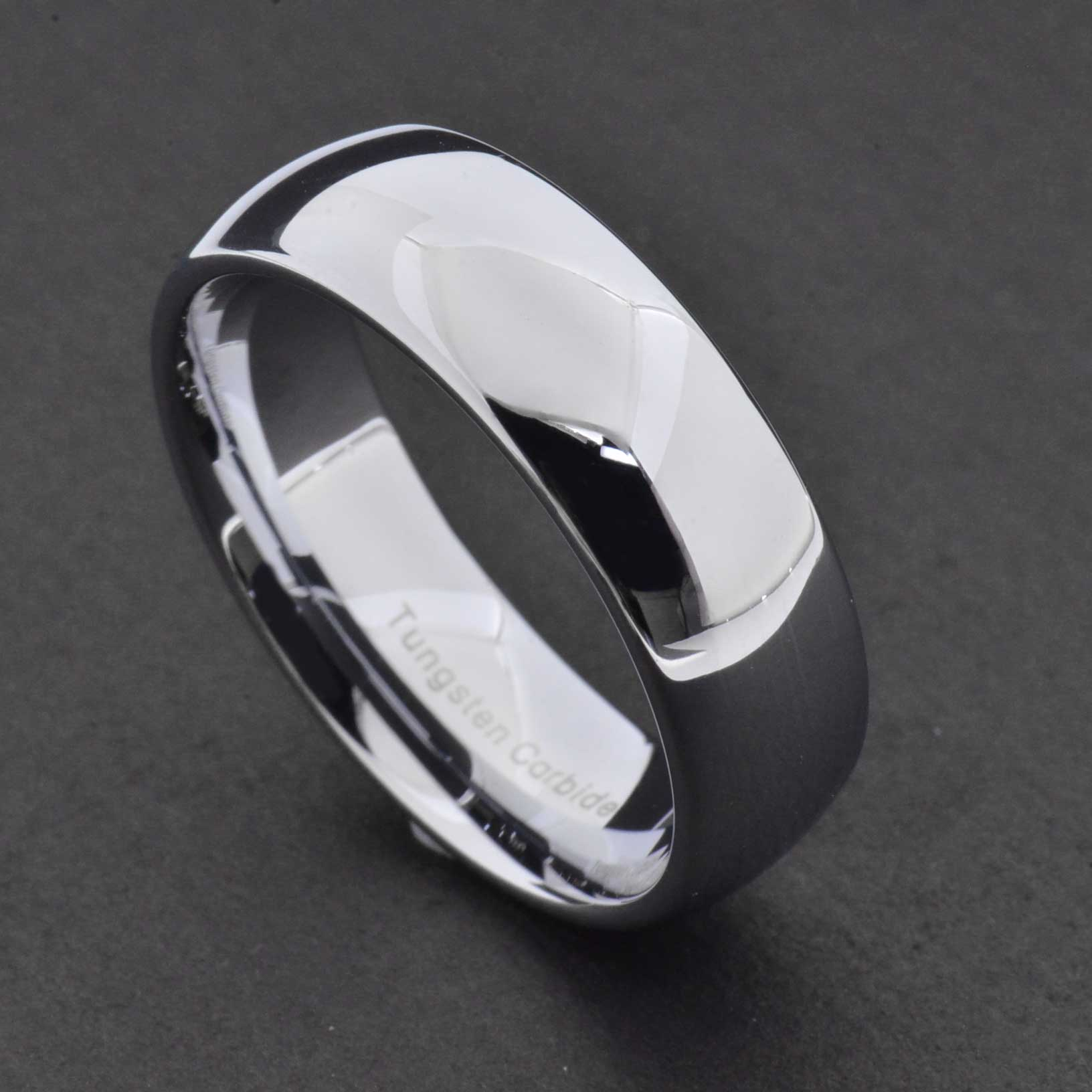 8mm Tungsten Silver White Polish Classic Dome Band Mens Wedding Ring