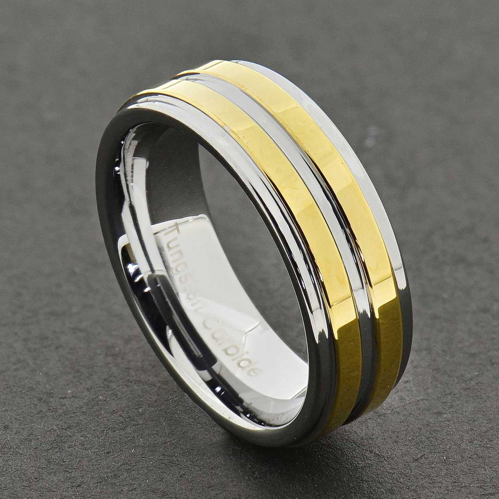 8mm dome 18k gold mens tungsten ring wedding band bridal. Black Bedroom Furniture Sets. Home Design Ideas