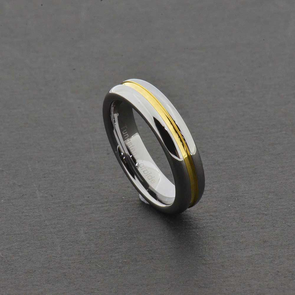 5mm tungsten carbide grooved gold center strip shiny edge With tungsten carbide womens wedding rings