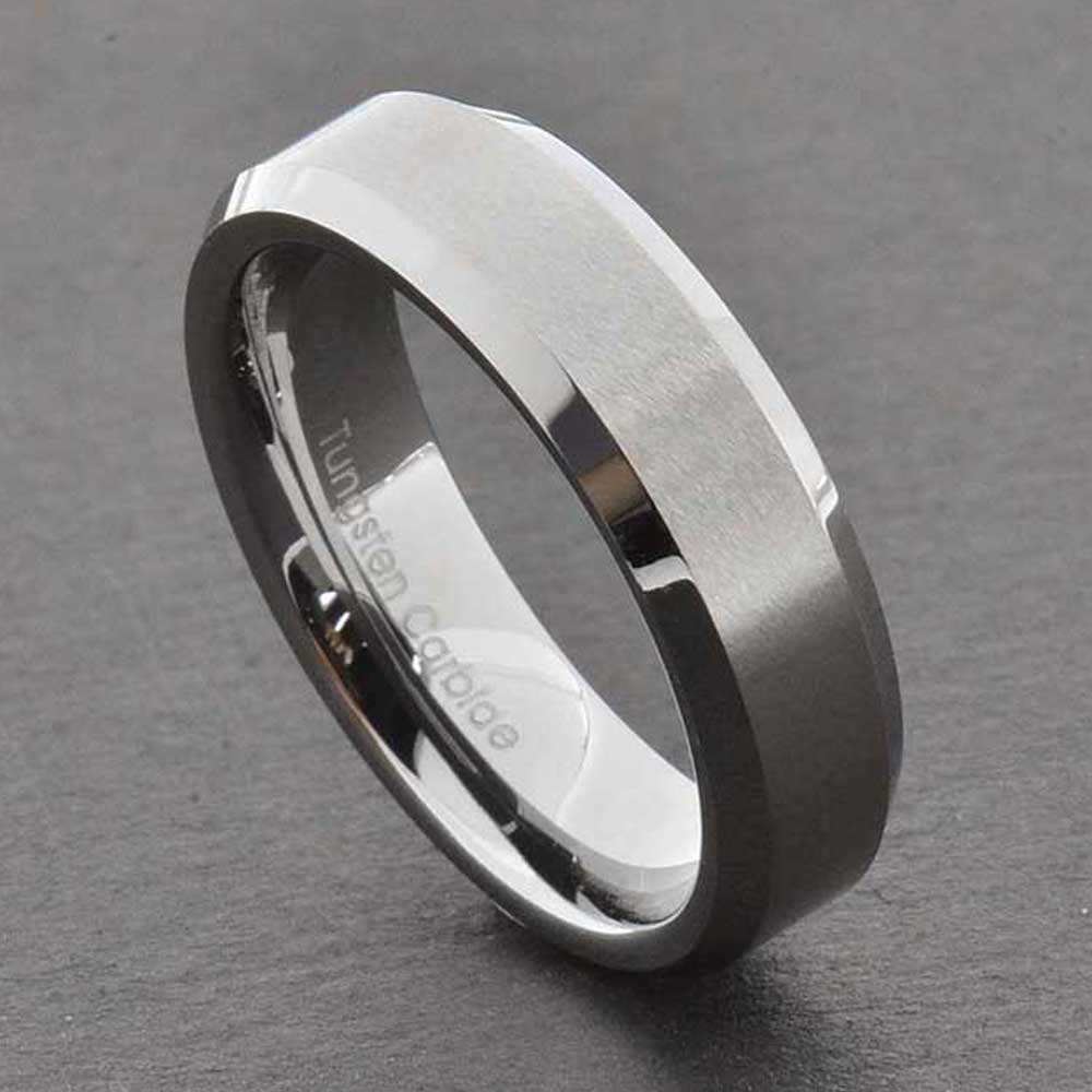 Tungsten carbide ring comfort fit wedding band men silver for Tungsten celtic wedding ring