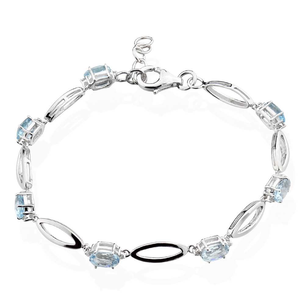"Blue Topaz 925 Sterling Silver Bracelet With 1"" Extension"