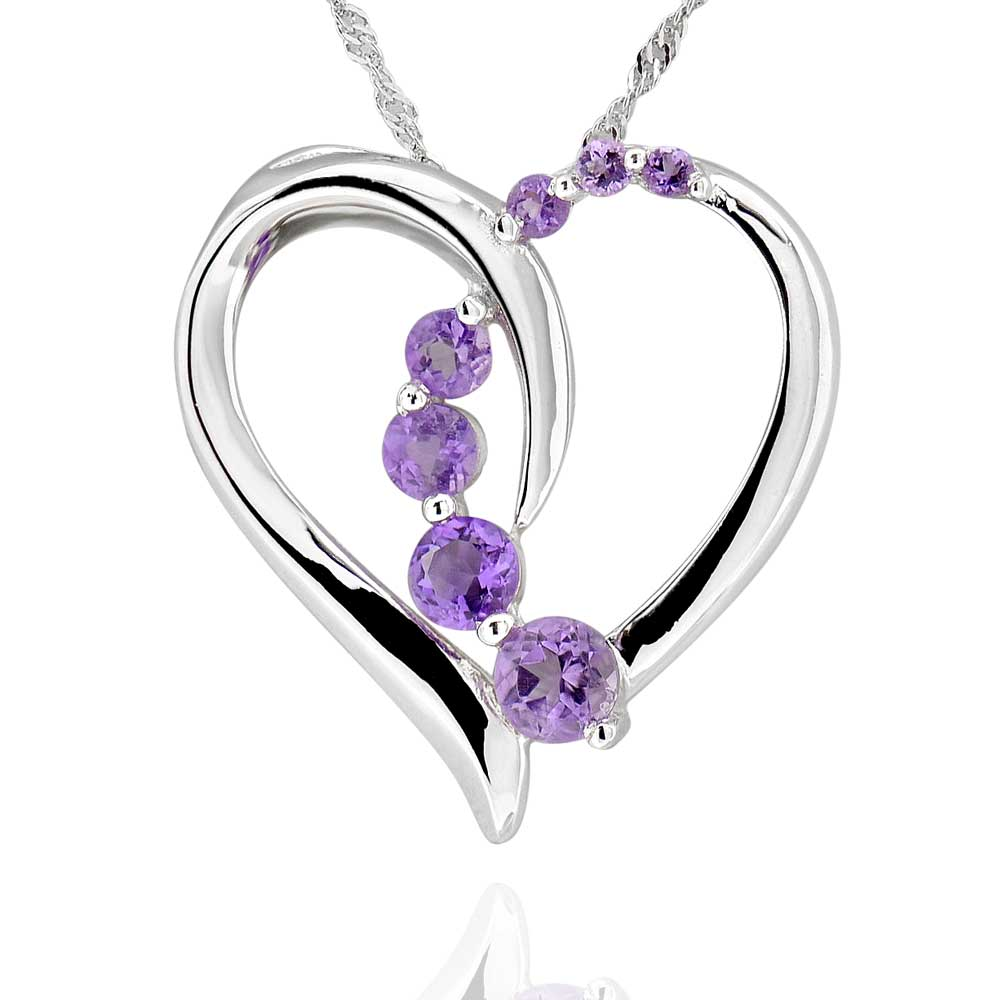 sterling silver round amethyst heart necklace 18quot chain ebay