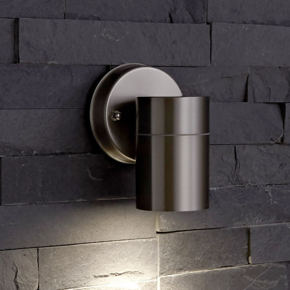 Round Outside Wall Lights : Round Up Down Indoor Outdoor Wall Light - PIR Optional - Black Copper Steel eBay