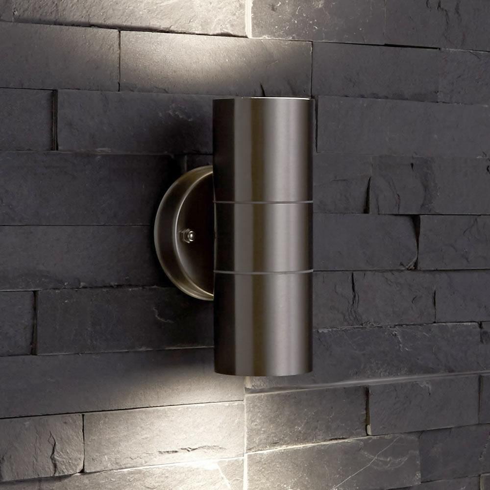 Round Up Down Indoor Outdoor Wall Light - PIR Optional - Black Copper Steel
