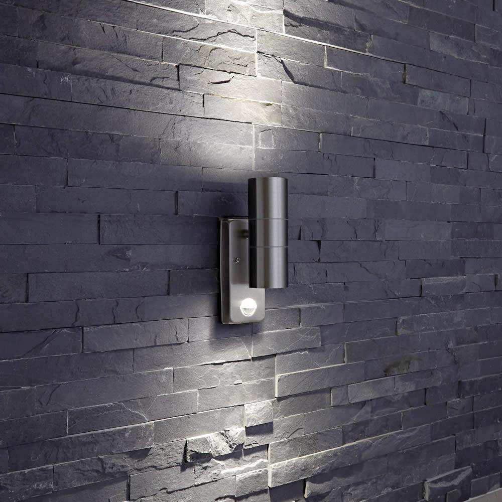 round up down indoor outdoor wall light pir optional. Black Bedroom Furniture Sets. Home Design Ideas