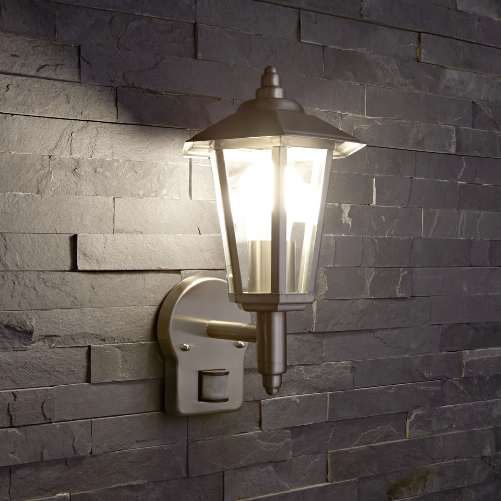 outdoor traditional wall lantern light pir stainless. Black Bedroom Furniture Sets. Home Design Ideas