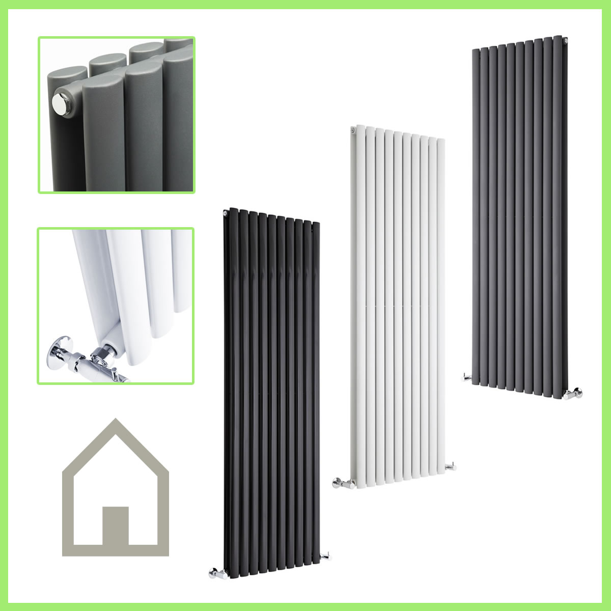 Vertical Designer Radiator Oval Column Tall Upright