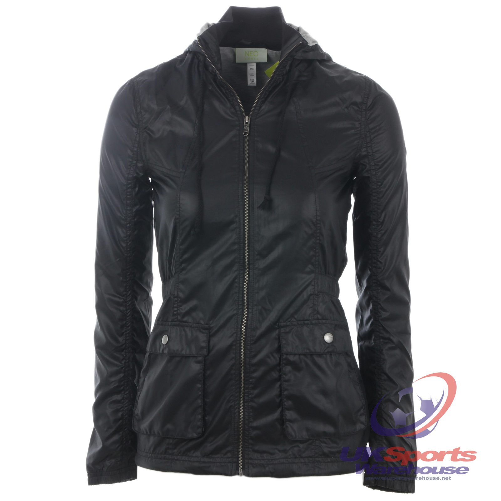 adidas neo womens hooded lined fitted jacket black g7901. Black Bedroom Furniture Sets. Home Design Ideas