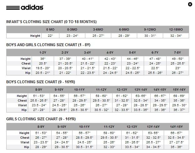 adidas boys size chart