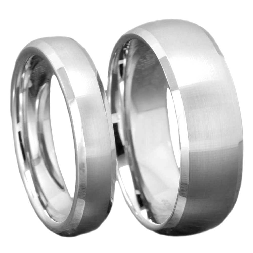 Silver Tungsten His Amp Hers Engagement Wedding Band Ring Sets Brushed Bevel Edge