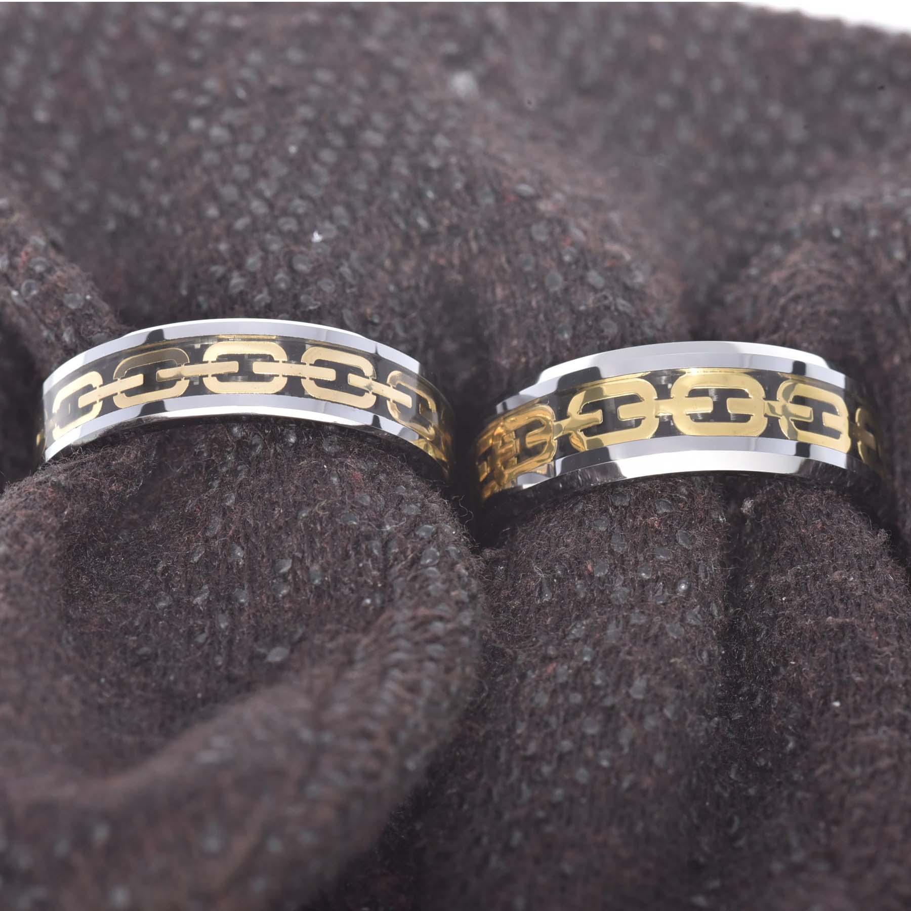 tungsten carbide band beveled edge gold chain inlay his