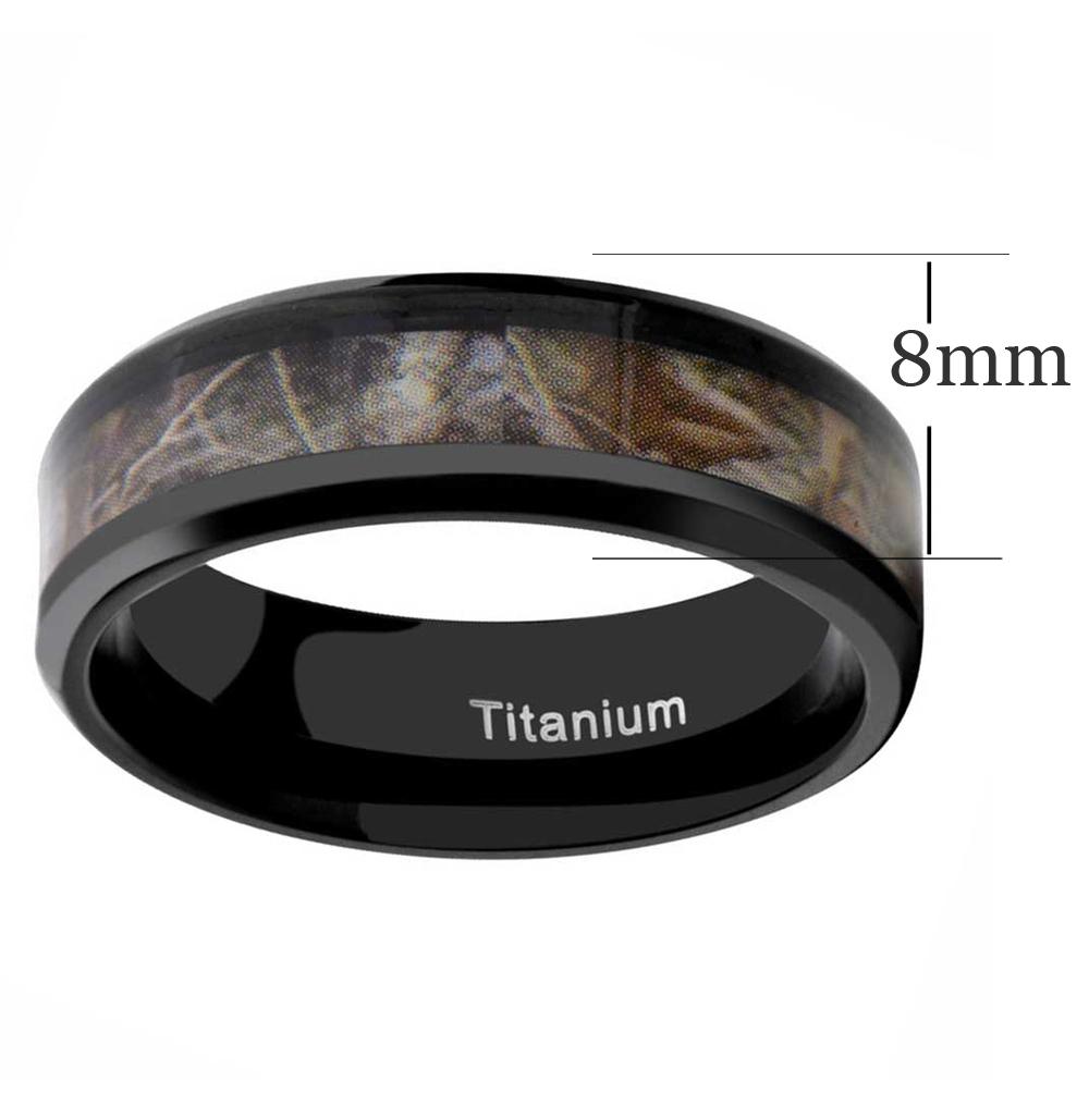 8mm Titanium Black Plated Hunting Ring Camouflage Design Men/'s Wedding Band