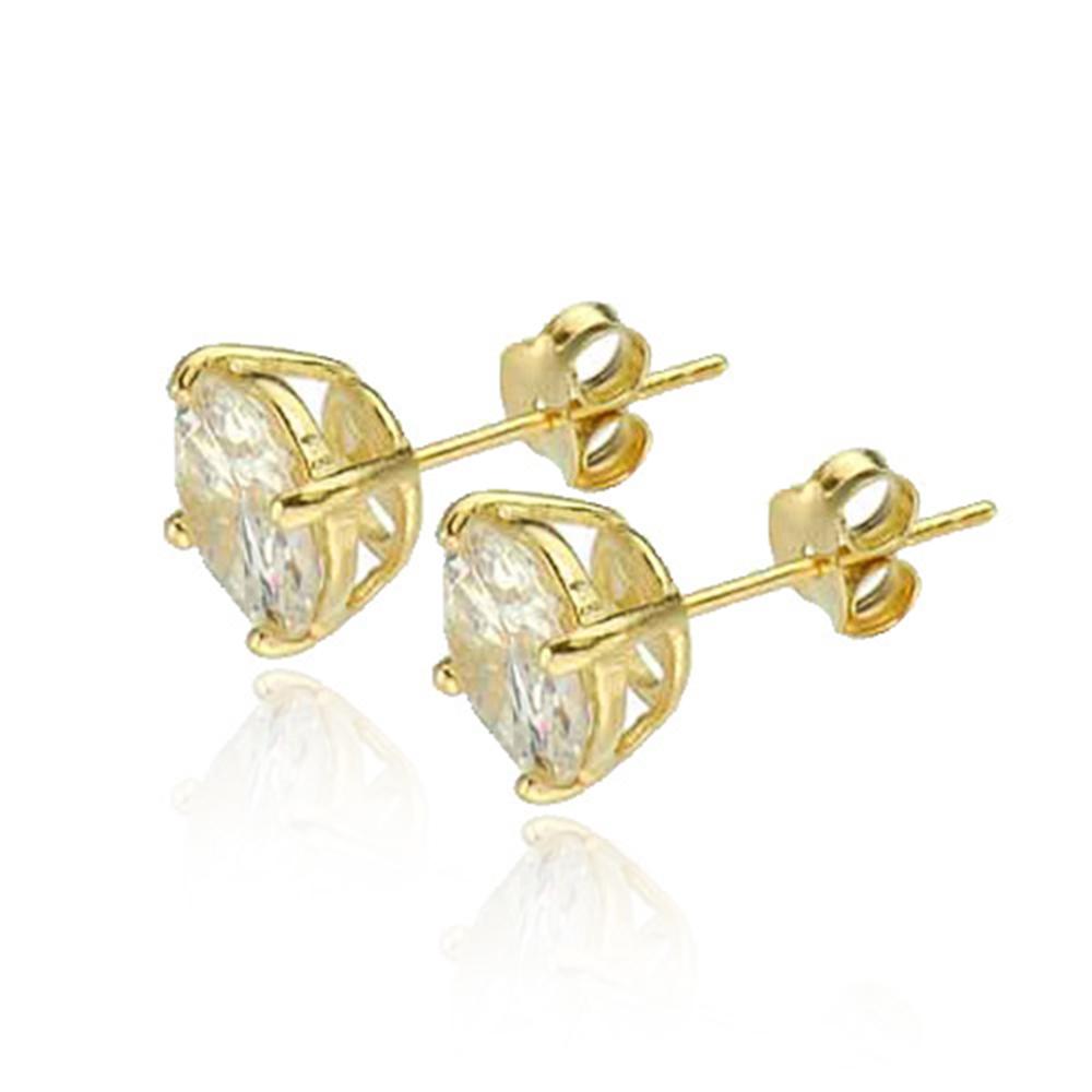 gold vermeil cubic zirconia solitaire stud earrings new
