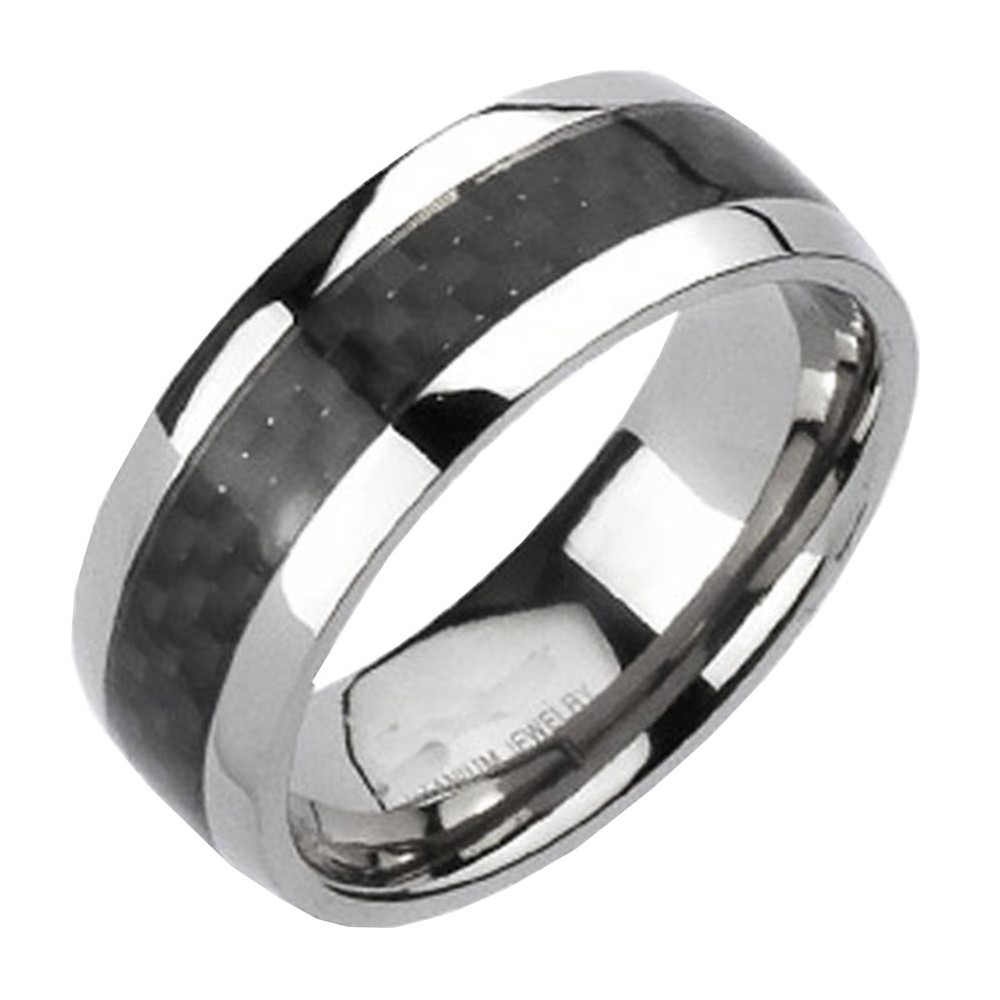 Titanium-Black-Carbon-Fiber-Stripe-Comfort-Fit-Mens-Wedding-Band-Ring-size-8-14