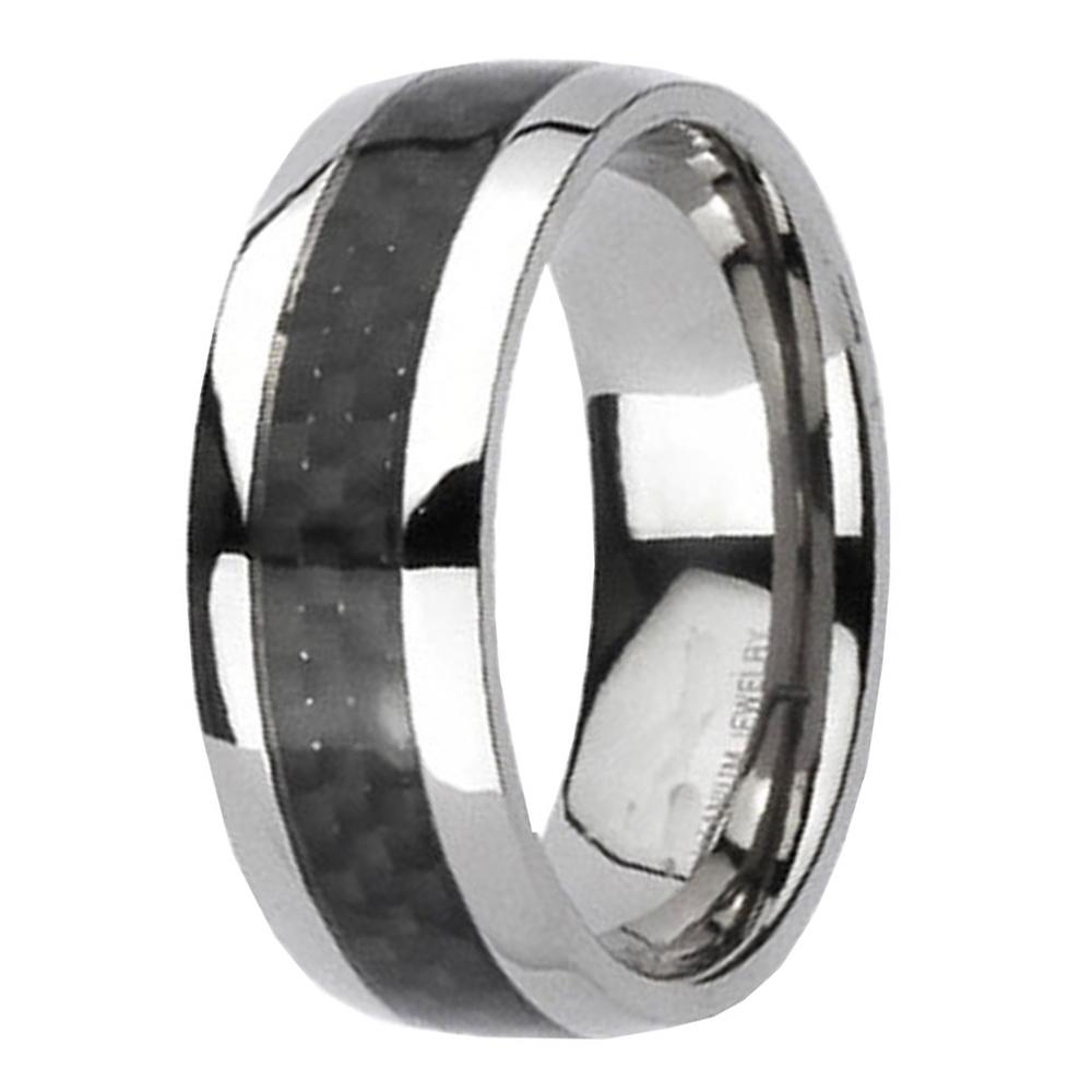 Titanium Black Carbon Fiber Stripe Comfort Fit Mens Wedding Band Ring Size 8 14