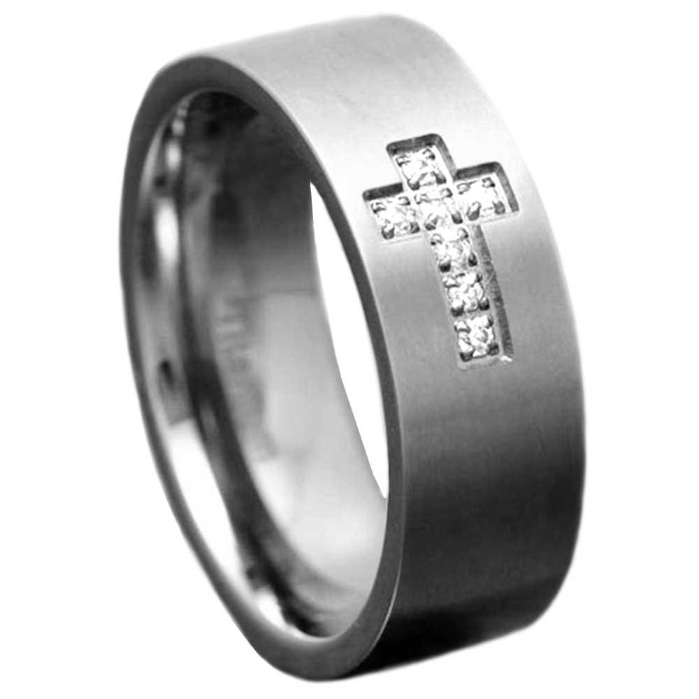 8mm Titanium Satin Top CZ Christian Cross Mens Wedding Engagement Band EBay