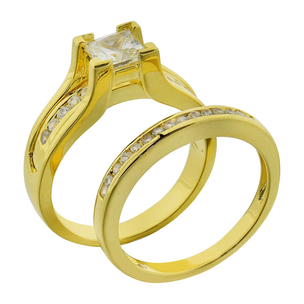 Women 39 S Princess Cubic Zirconia Wedding Ring Set Gold Rhodium Plated Choo