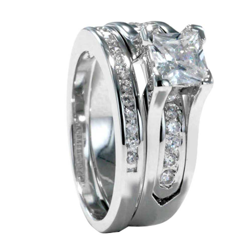 Princess Cut Cubic Zirconia White Gold EP Basket Wedding Engagement Ring Set