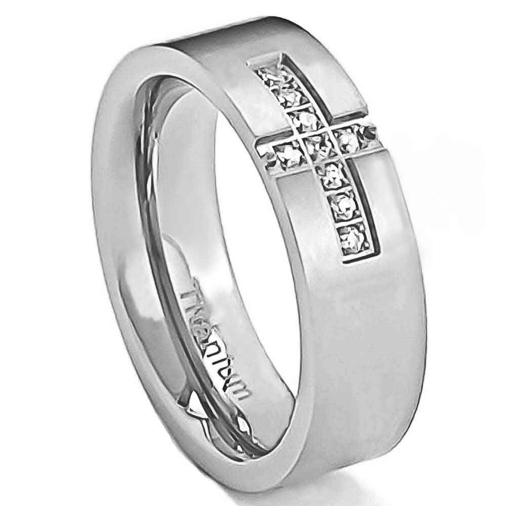 6mm Titanium Ring Clear Round Cubic Zirconia Men 39 S Silver Wedding Band