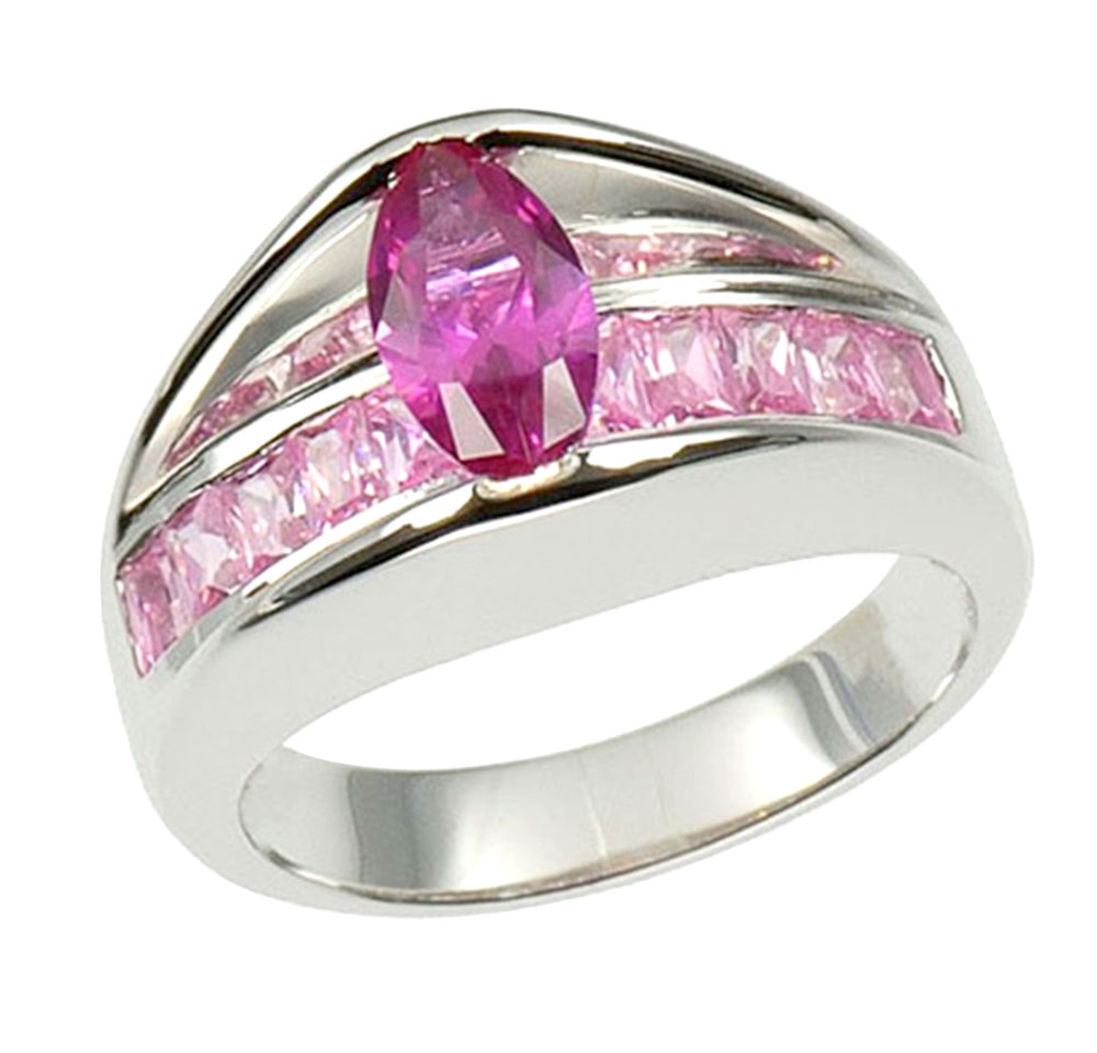 marquise cut pink syn sapphire sterling silver bridal