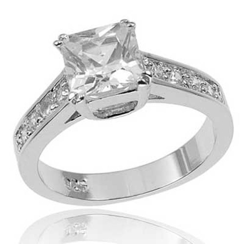 princess cut cz cubic zirconia sterling silver bridal
