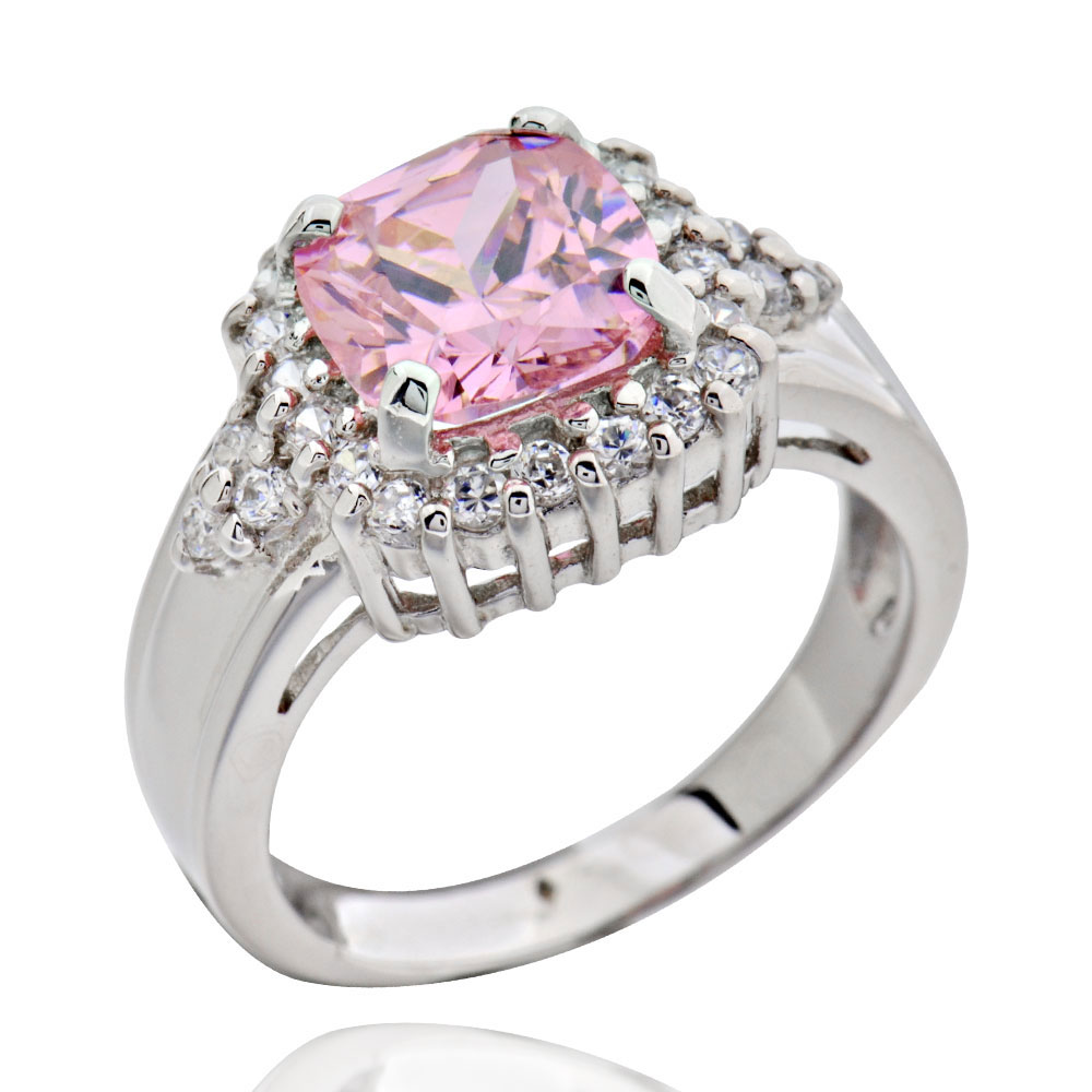 sterling silver princess pink cubic zirconia wedding ring
