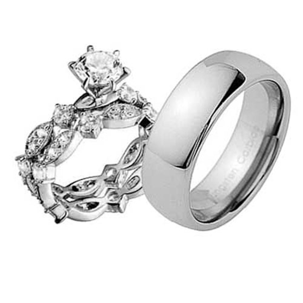 Tungsten Wedding Rings: Mens Womens Estated Sterling Silver Tungsten CZ Engagement