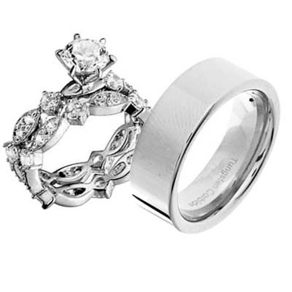 Mens Womens Estated Sterling Silver Tungsten CZ Engagement Wedding 3pcs Ring Set
