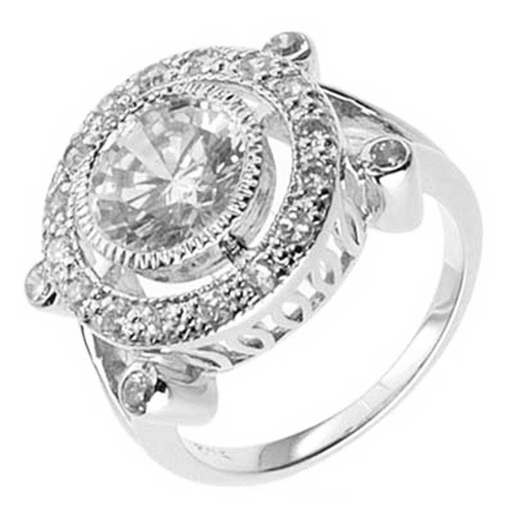 FlameReflection Art Deco Round Cut CZ Cubic Zirconia 925 Sterling Silver Engagement Wedding Ring
