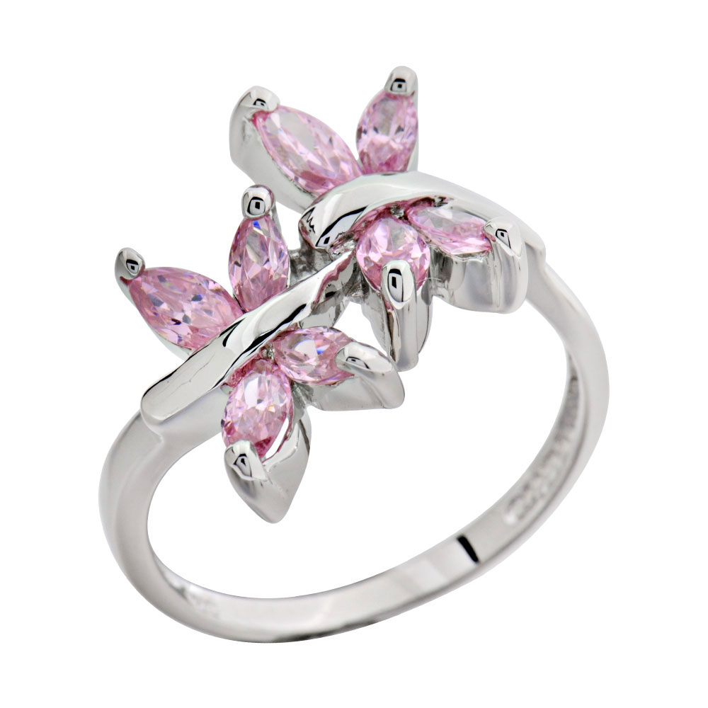 Two Butterfly Pink CZ Cubic Zirconia 925 Sterling Silver