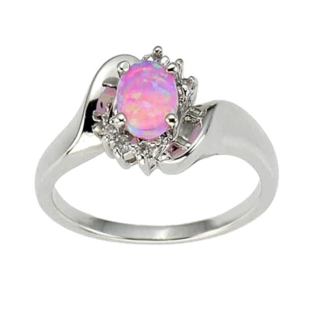 925 sterling silver synthetic pink opal women39s engagement With opal wedding rings for women