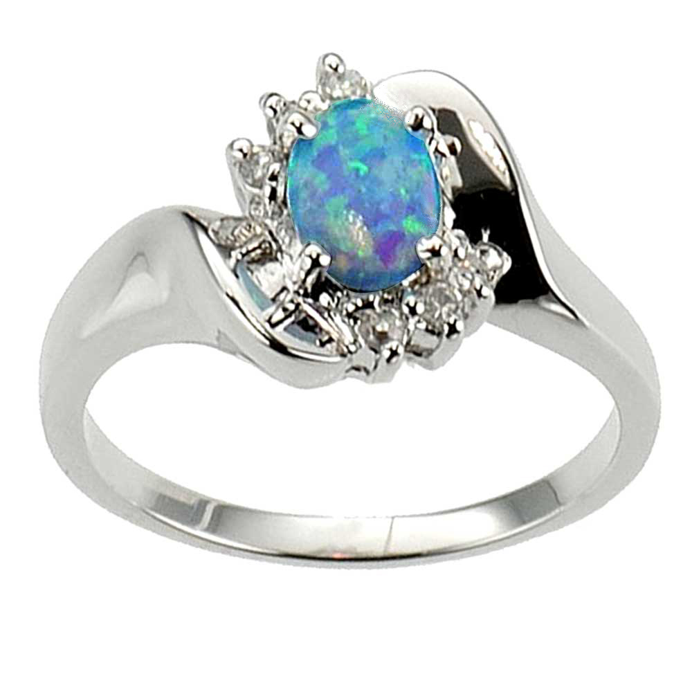 Opal Engagement Rings Oval Cut Synthetic Blu...